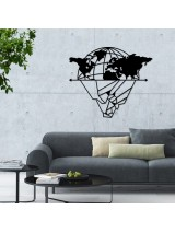 Light bulb Metal World Map