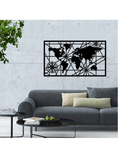 Framed compass Metal  world map