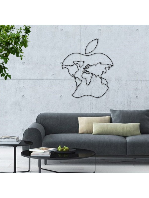 Apple Metal World Map Wall Art