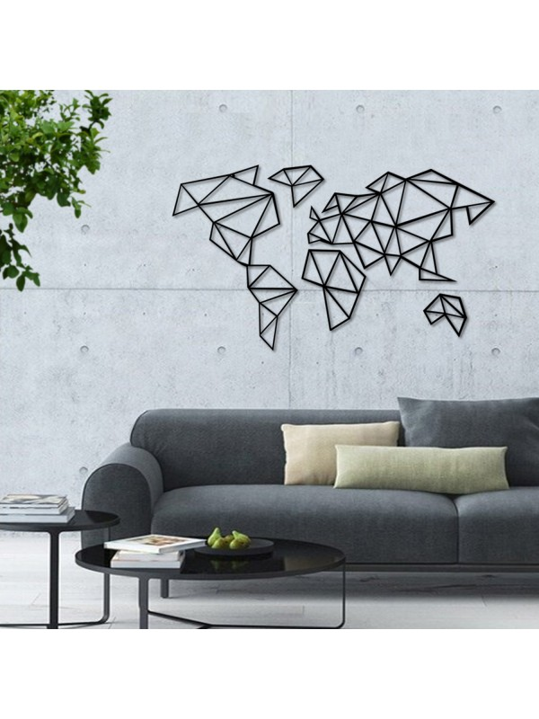 5 Pieces Metal World Map Wall Art