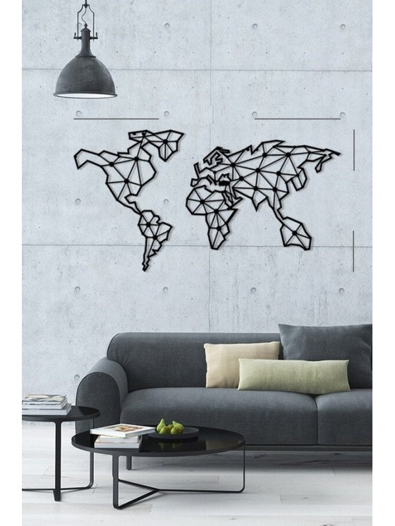 Metal world map wall art decor portrait