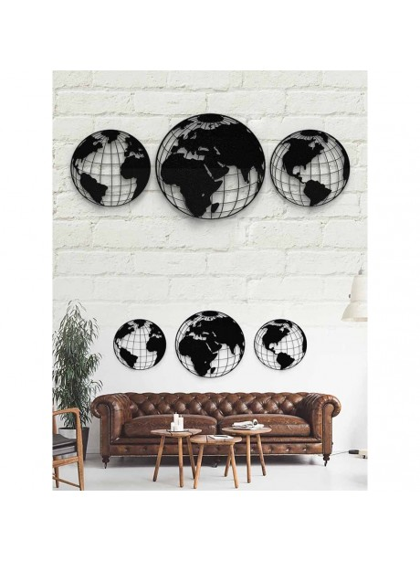 Metal World Map Wall Art Decor