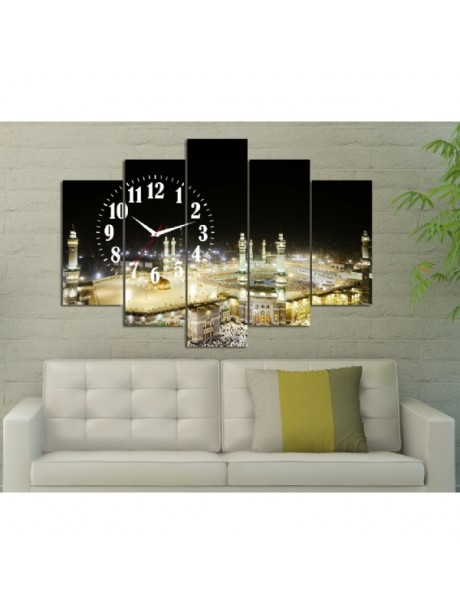 5 Pieces Canvas Clock Wall Art Print With İslamic Design