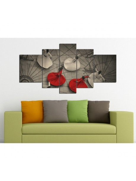 5 Pieces Canvas Clock Wall Art Print With Whirling Dervishes
