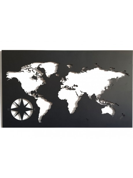 Filled Compass Metal  world map