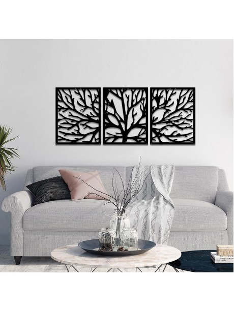 Line Wall Art 3 Part Tree Of Life Wall Decorative Metal Portrait