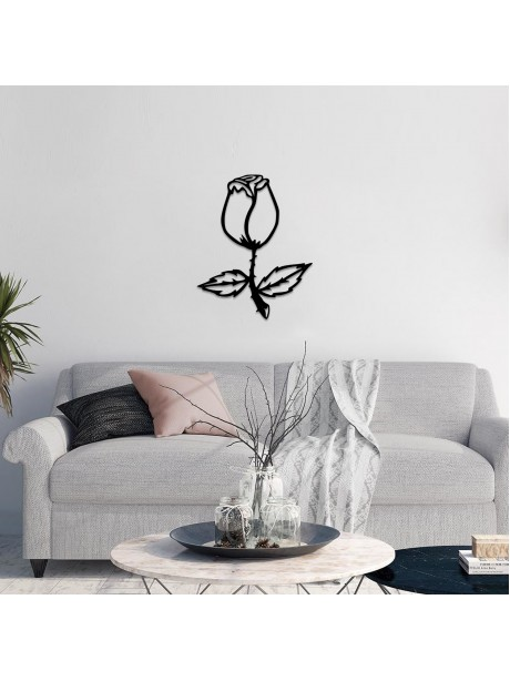 Line Wall Art Decor Of Metal Hanging Black Flower