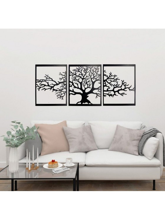 3 Pieces Tree Large Metal Wall Art - Linewallart