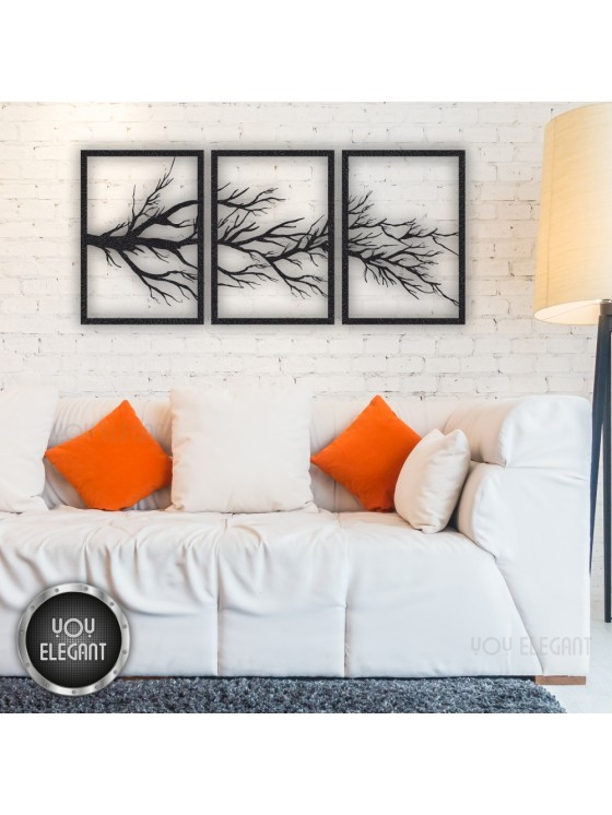 Three Branches Metal Tree Of Life Wall Art