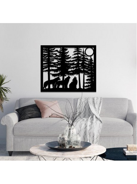 Line Wall Art Wolves With Moon Metal Portait Art Design For Wall Decor
