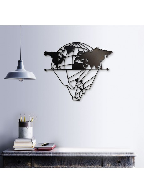 World Map Metal Wall Art Decor